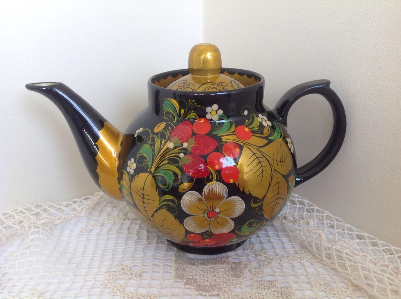 Чайник с хохломской росписью