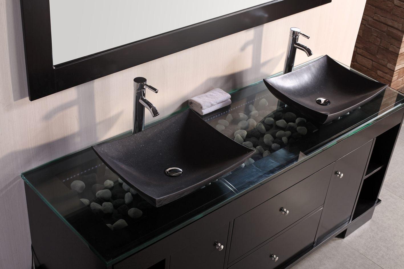 Двойная раковина в виде чаш в ванной