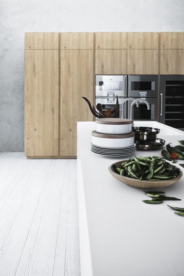 Кухня без ручек в частном доме