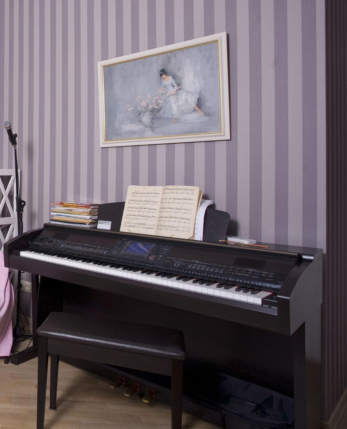 Черное пианино в интерьере