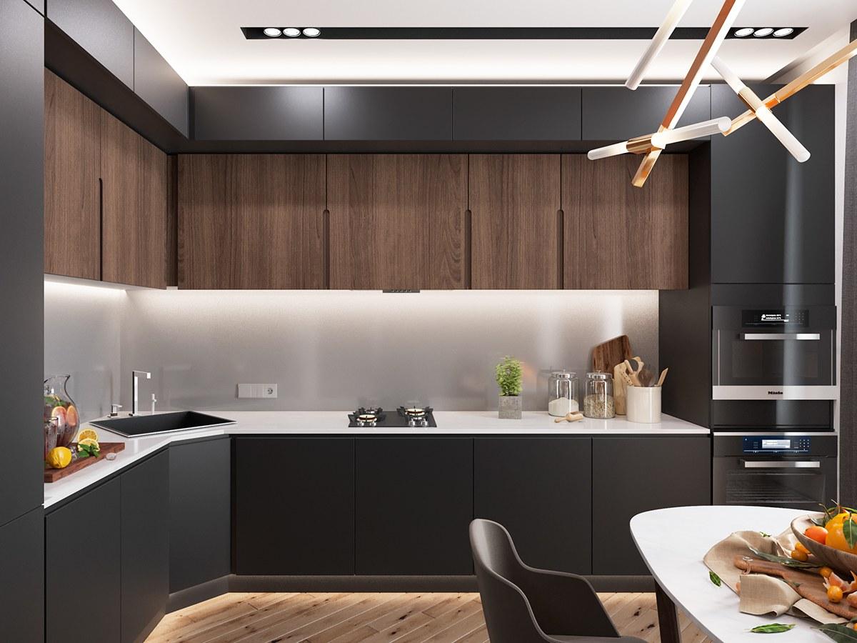 Черная кухня без ручек