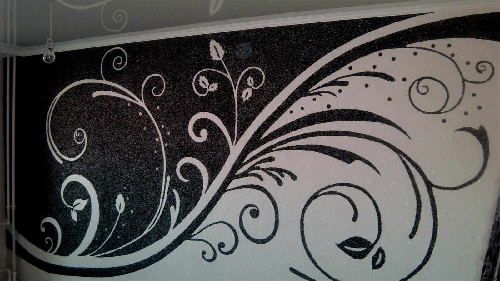 Рисунок на черно-белых жидких обоях