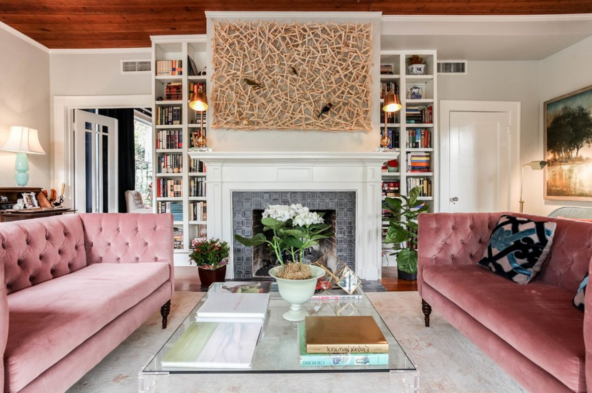 Розовый диван Честер