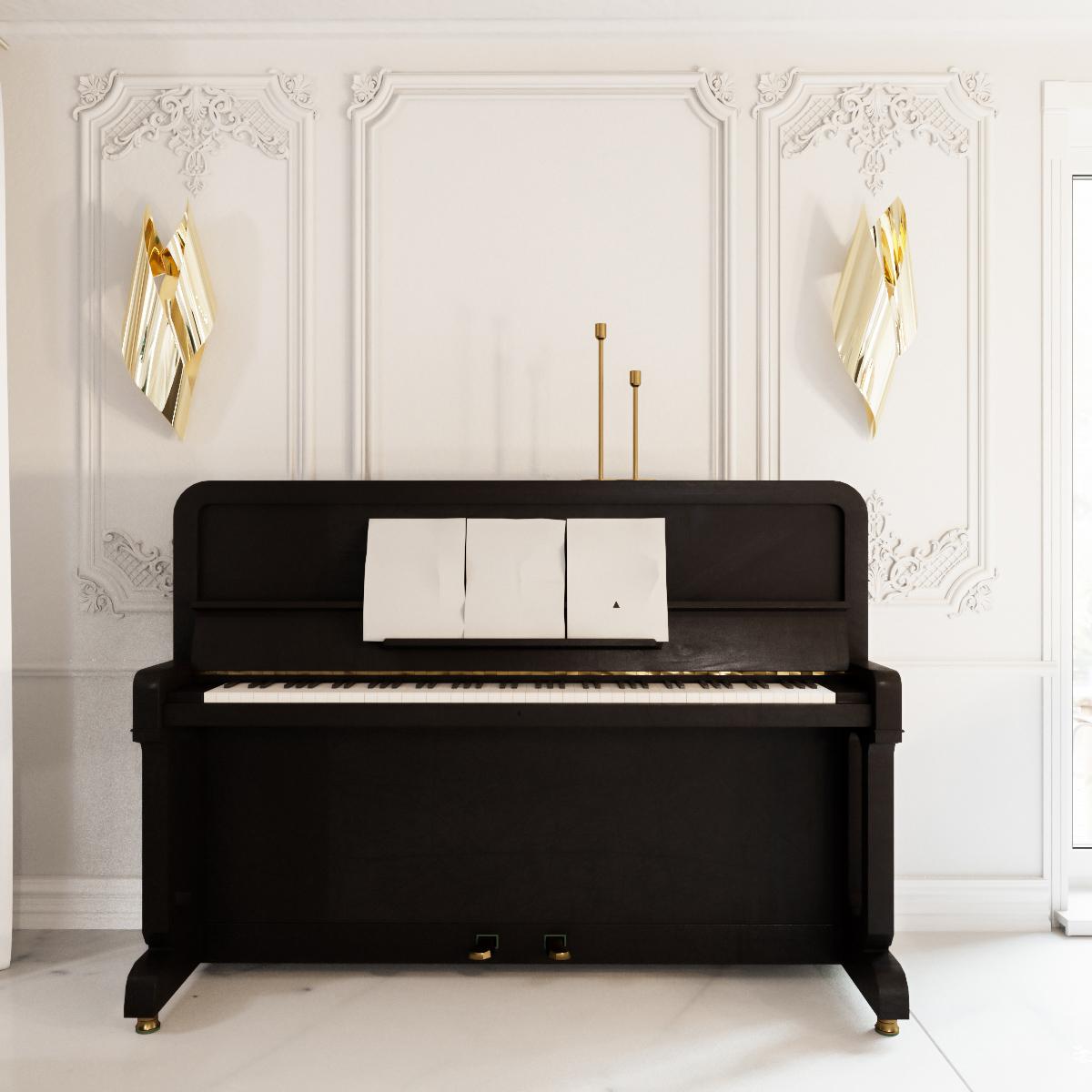 Пианино в классическом интерьере