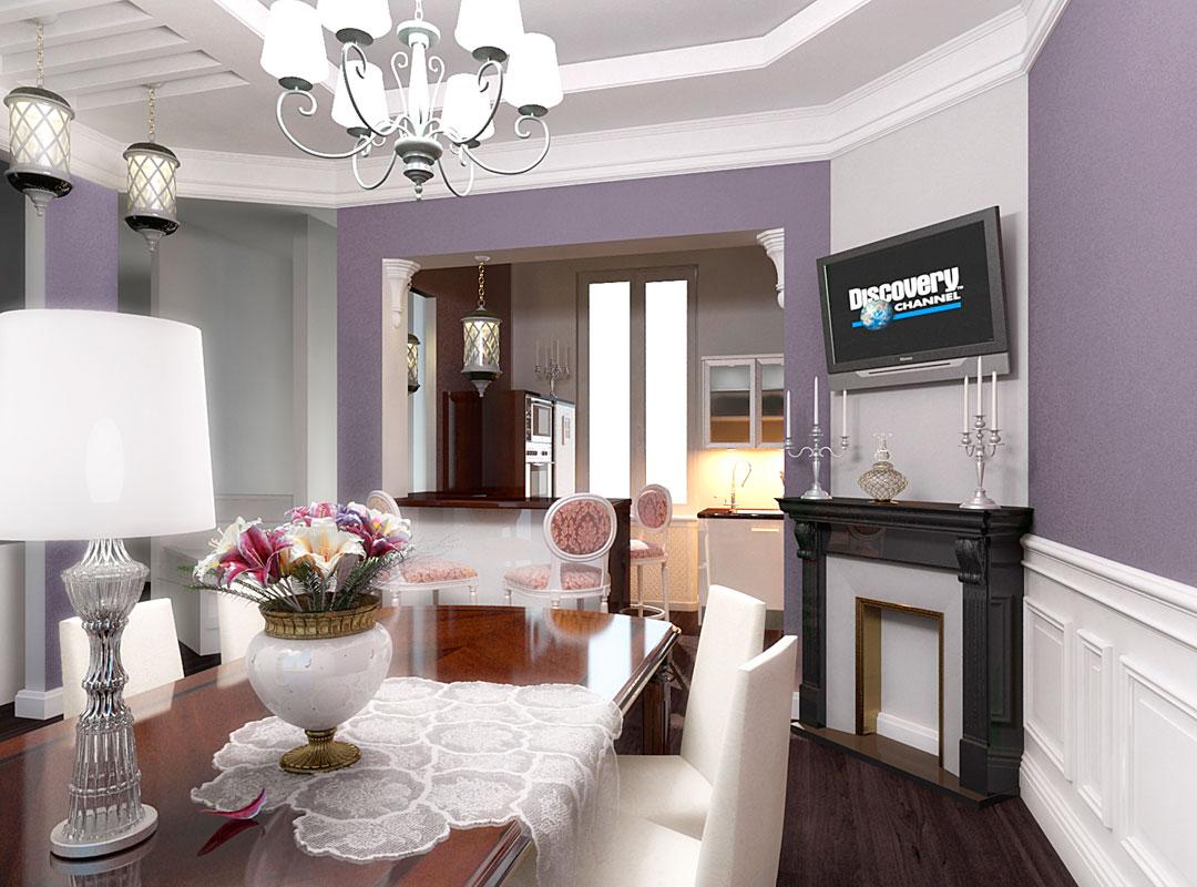 Кухня-гостиная с камином в классическом стиле