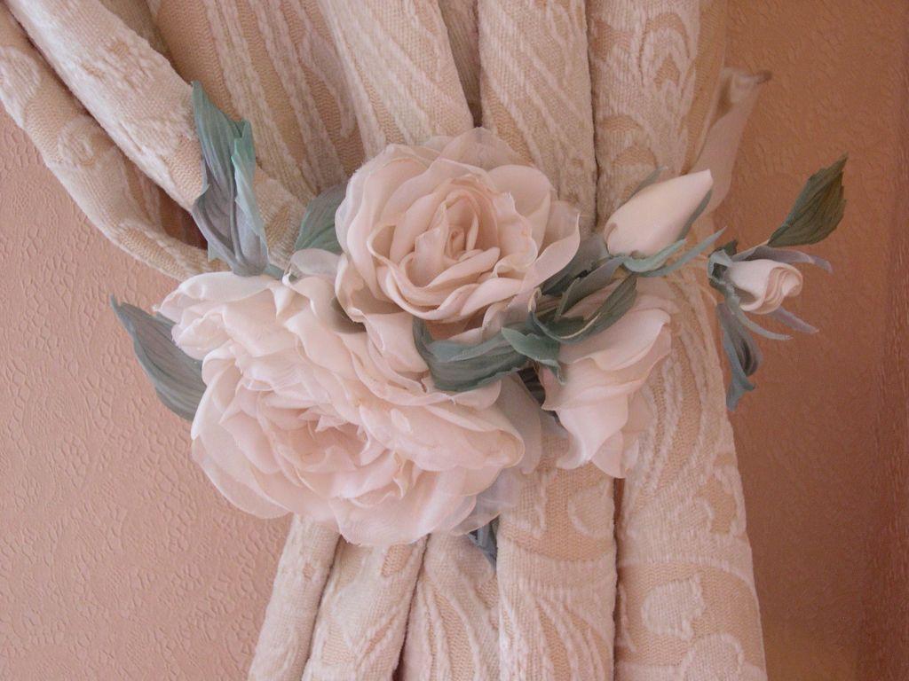 Декор штор цветами