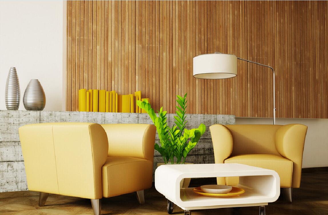 Декор стены бамбуковыми обоями