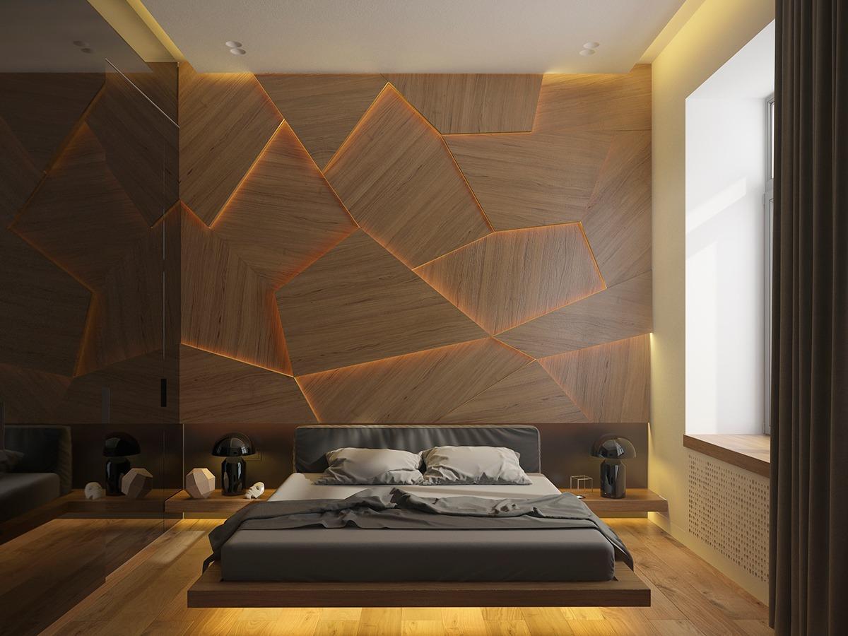 Подсветка деревянной стены