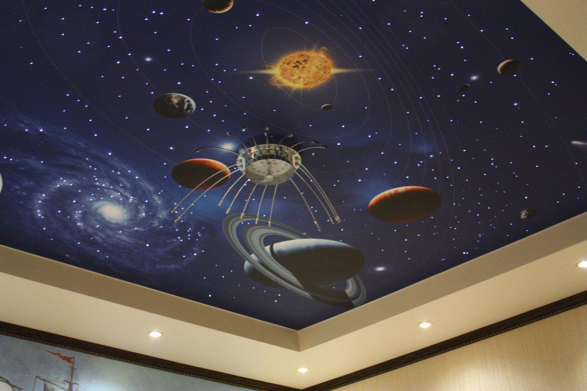 """Потолок """"звездное небо"""" в интерьере детской"""