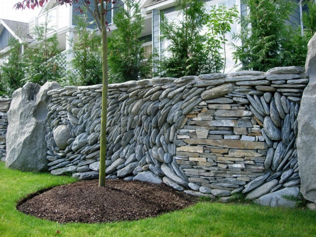 Дизайн каменного забора