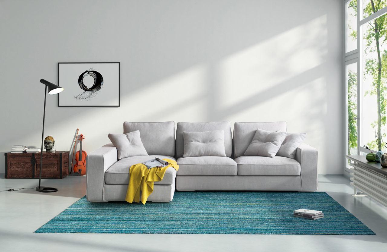 Тканевый диван в интерьере дома