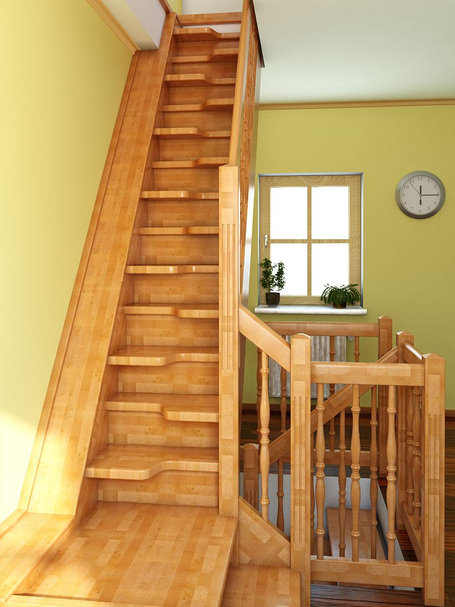 """Лестница """"гусиный шаг"""" в доме"""