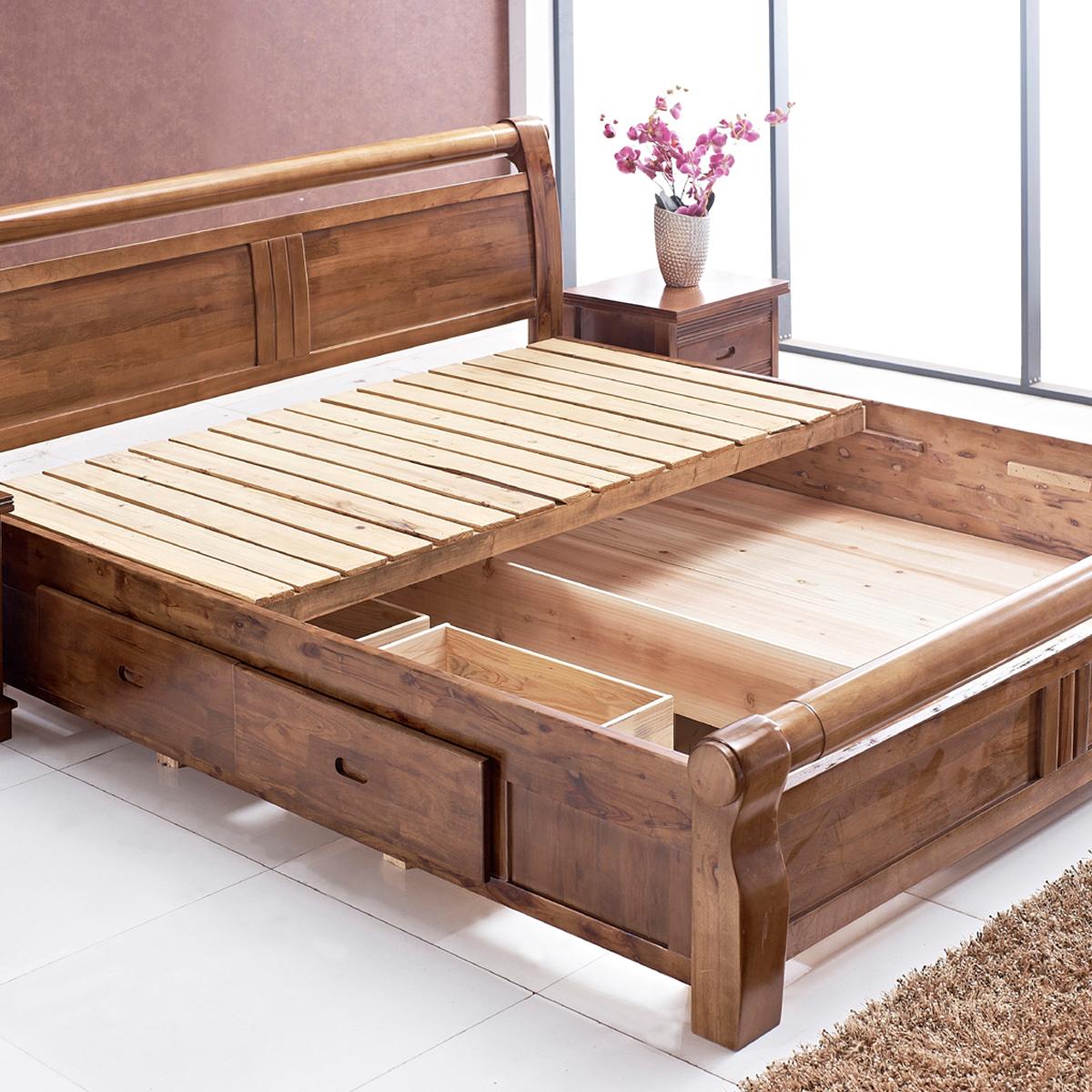 Кровать из массива дуба с ящиками