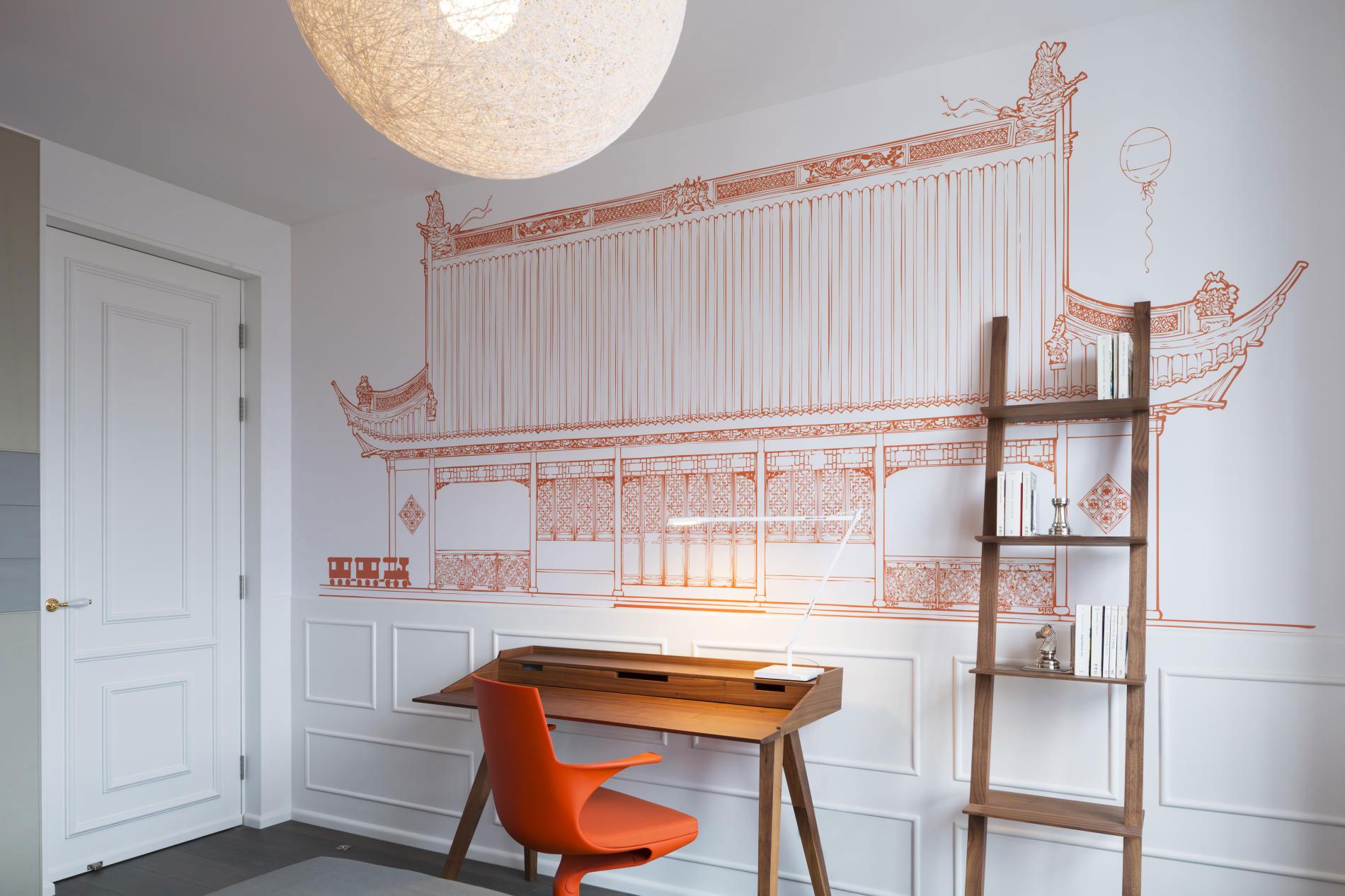Рисунок дворца на стене гостиной