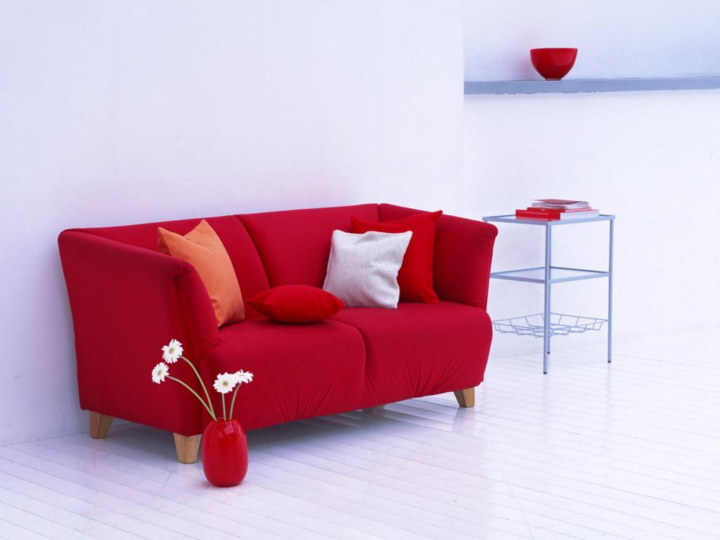 Двухместный красный диван