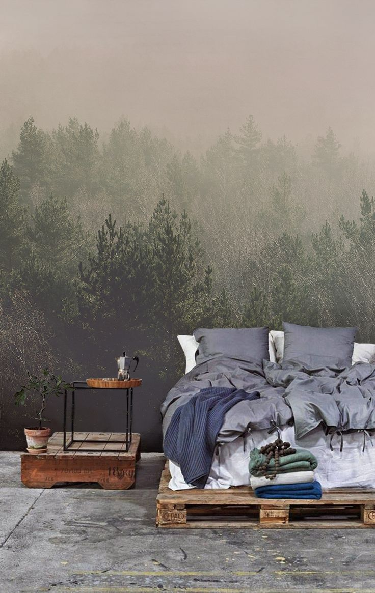 """Фотообои """"хвойные деревья"""" над кроватью"""