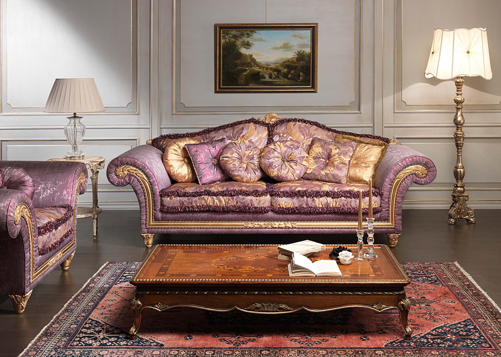 Фиолетовый диван в классическом стиле