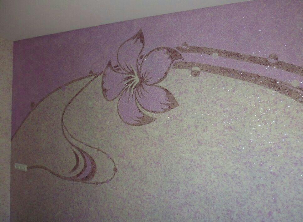 Рисунки жидкими обоями фиолетовыми