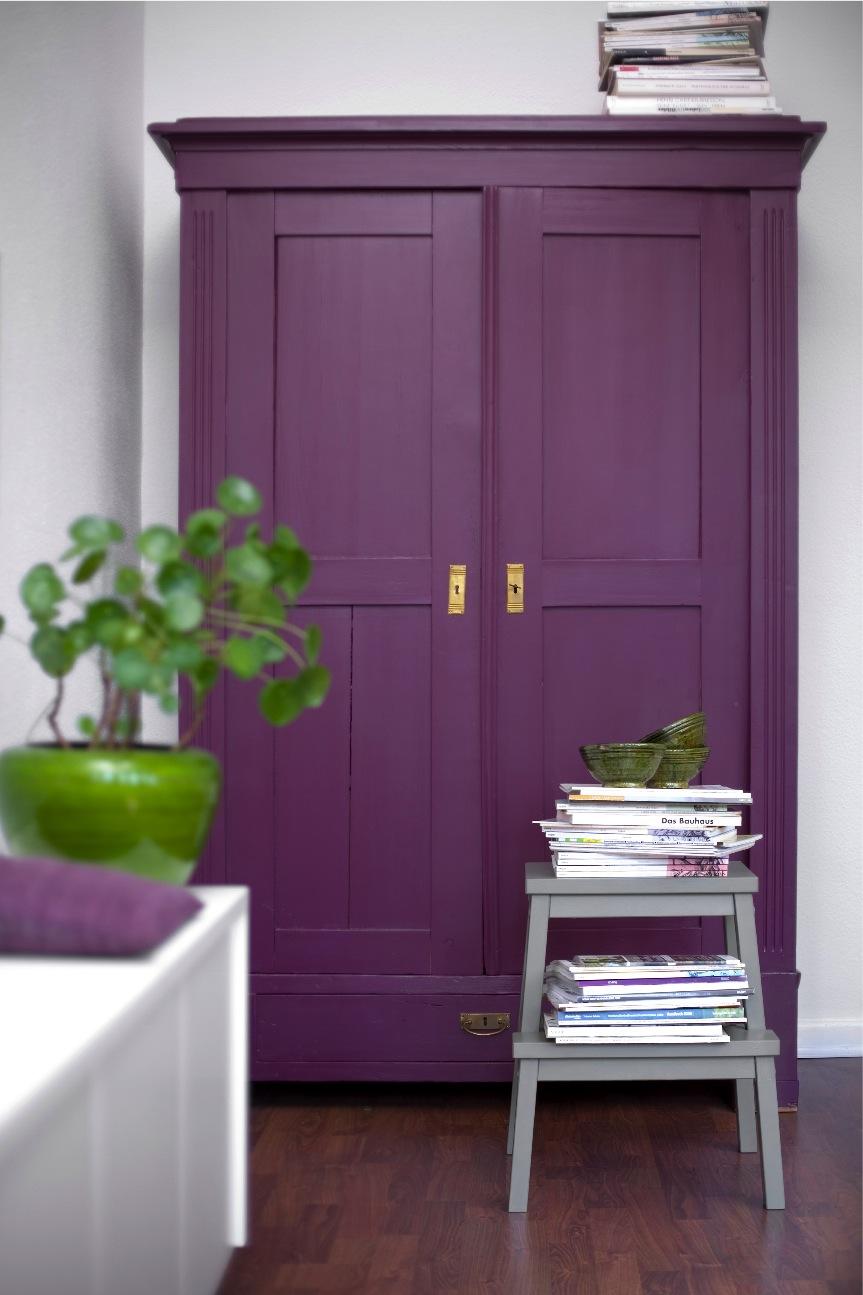 Покраска шкафа в фиолетовый