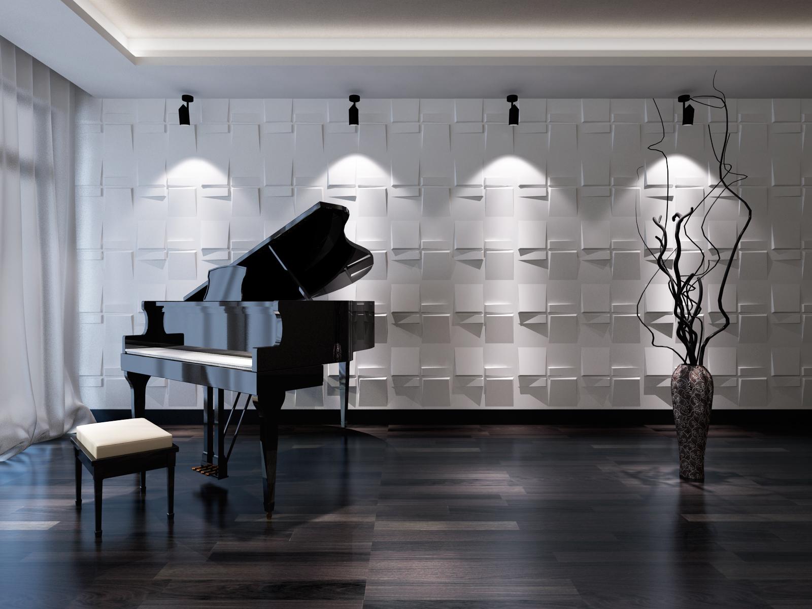 Глянцевый рояль в интерьере