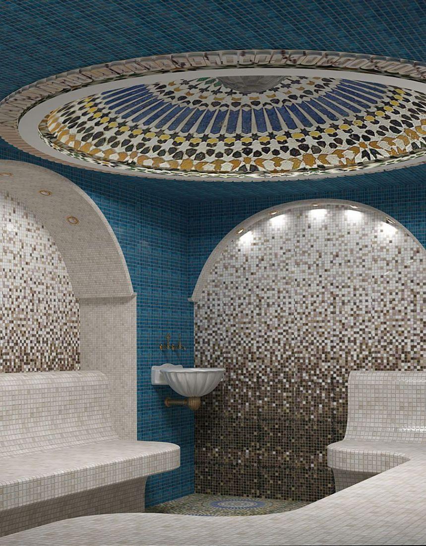 Хамам дома в голубом дизайне