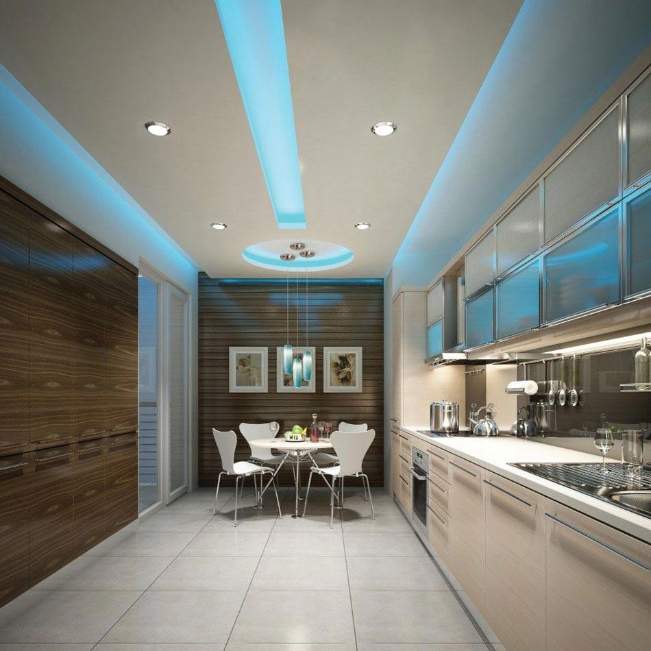 Потолок со светодиодной подсветкой голубой