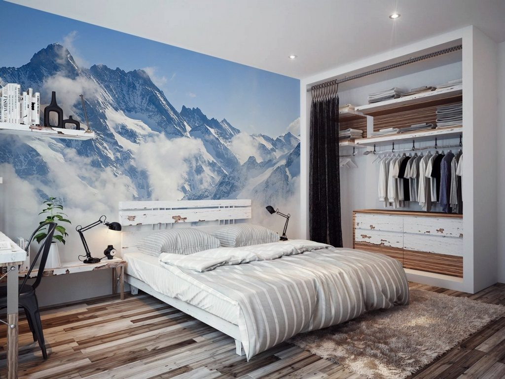 """Фотообои """"горы"""" над кроватью"""