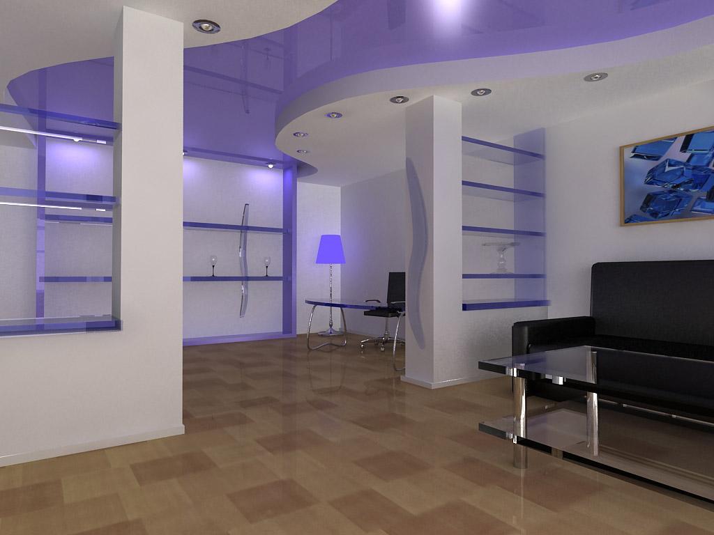 Комбинированный потолок в интерьере гостиной