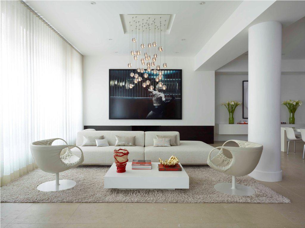 Люстра-шар в интерьере гостиной