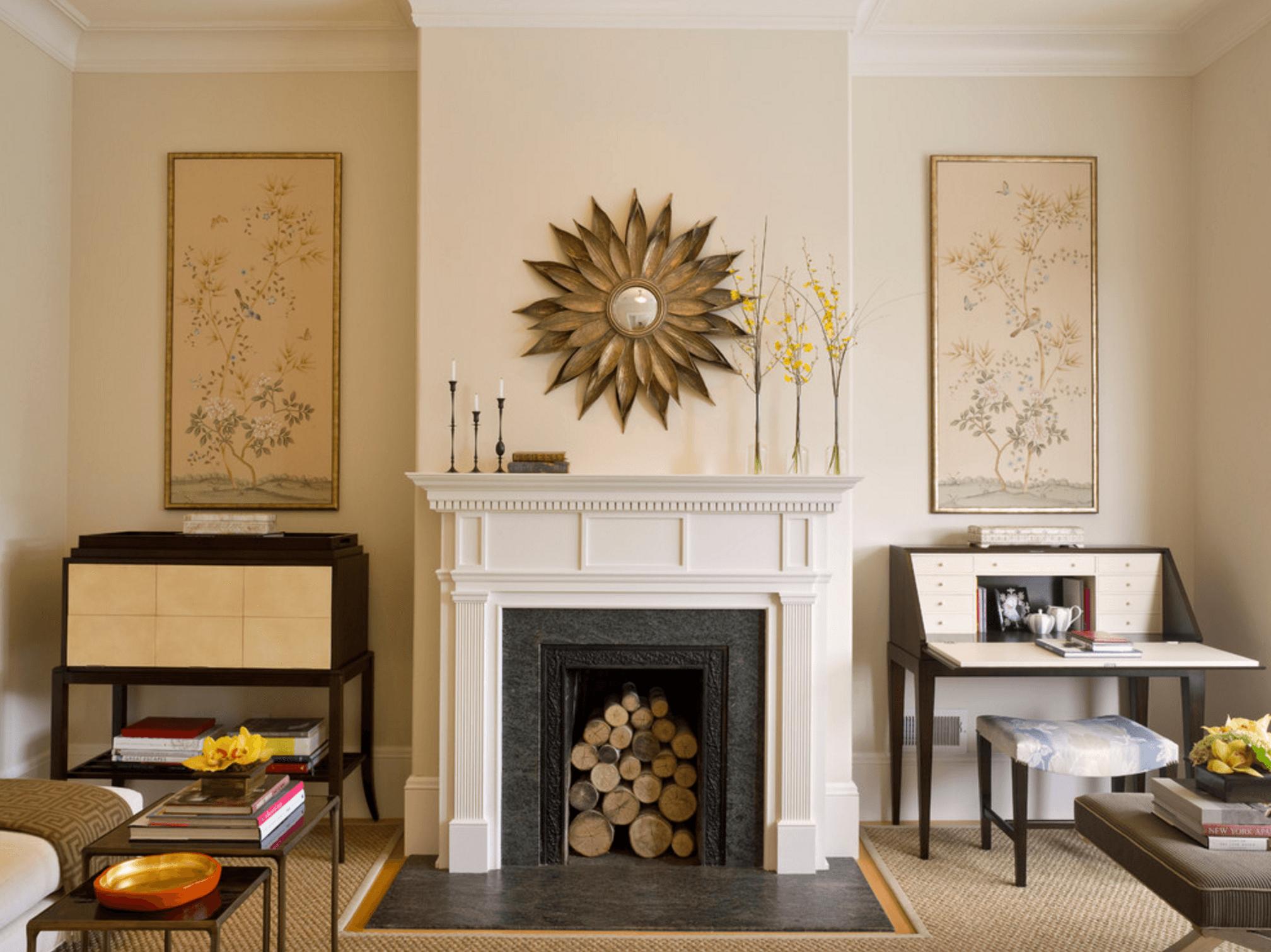 Декор камина в интерьере гостиной