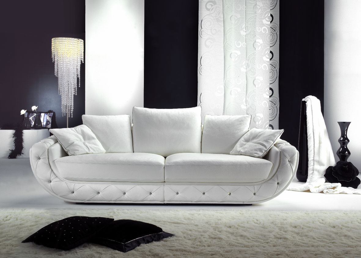 Хлопковый диван в интерьере