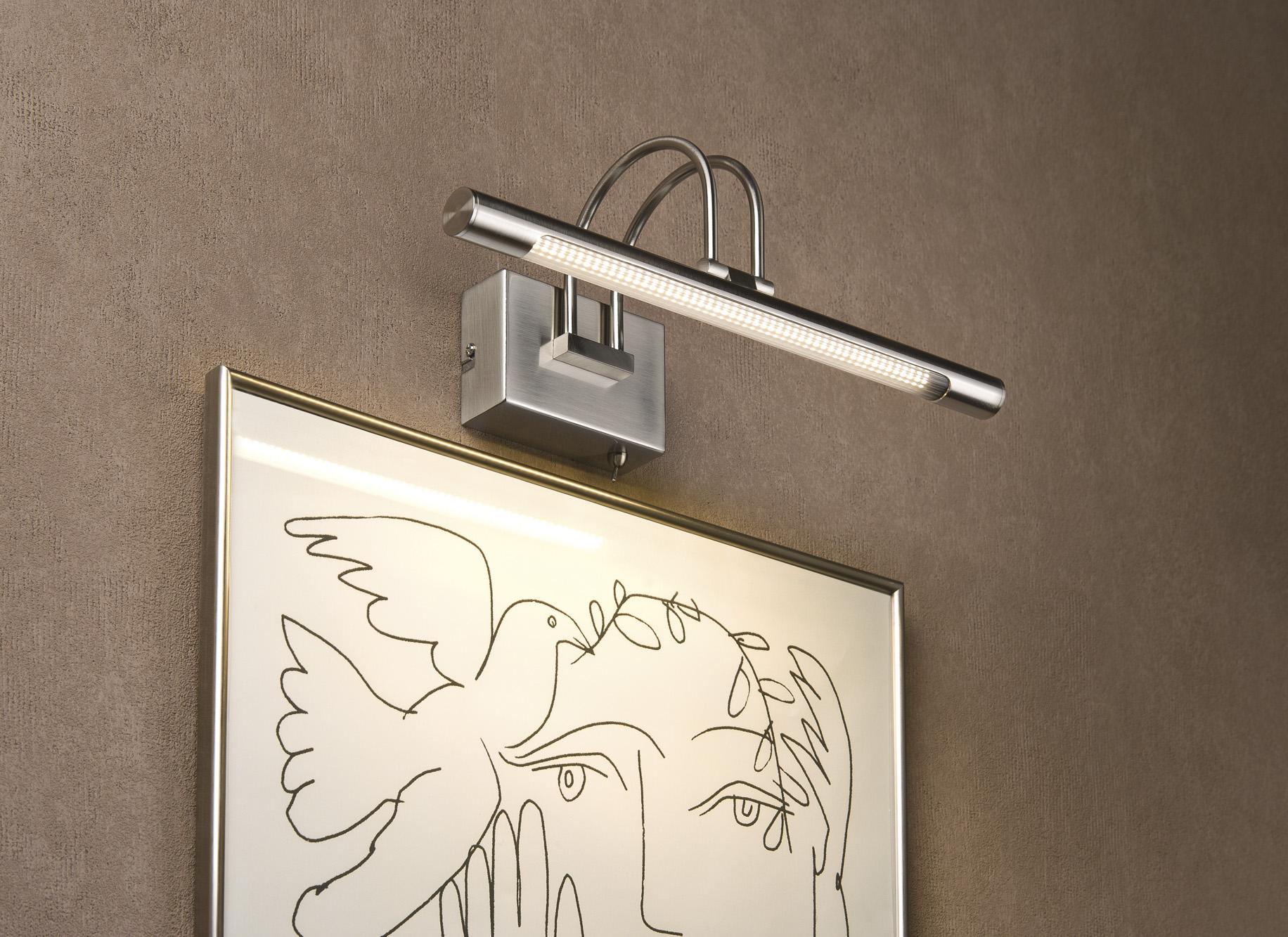 Хромированный светильник для картин