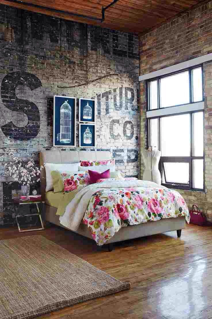 Интерьер спальни в стиле гранж