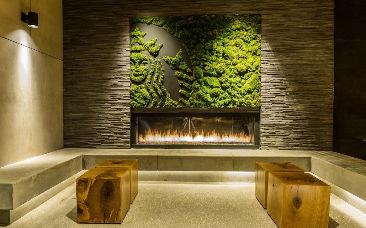 Вертикальное озеленение над камином