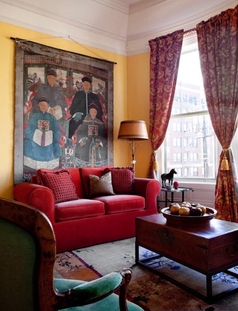 Красный диван в китайском стиле