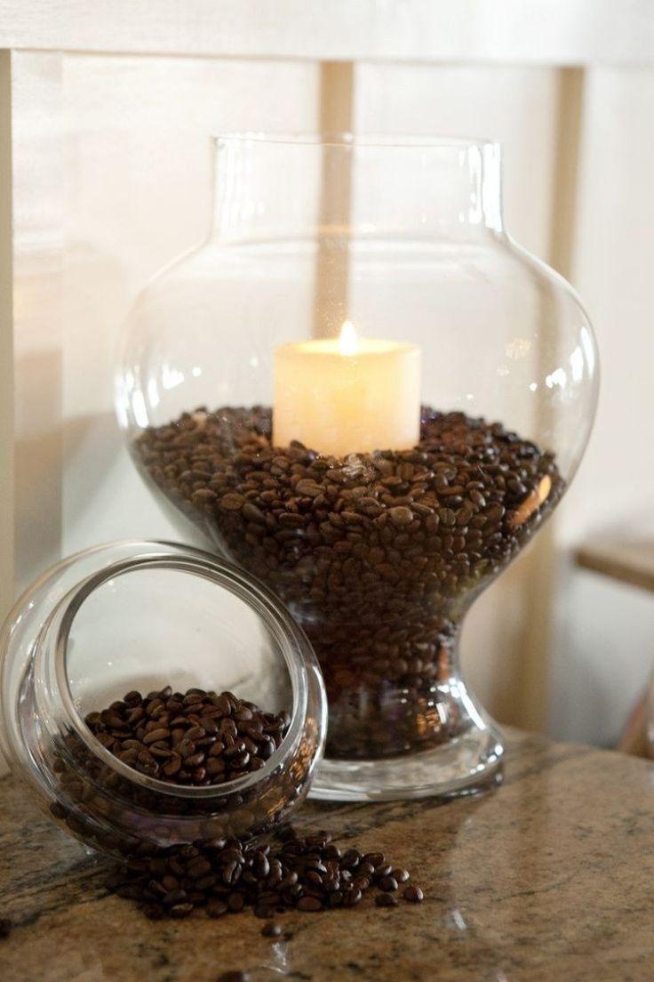Декор свечи кофейными зернами