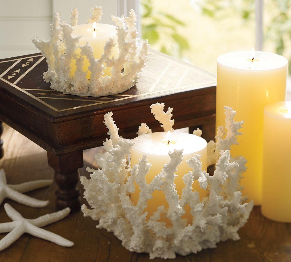 Декор свечи кораллом