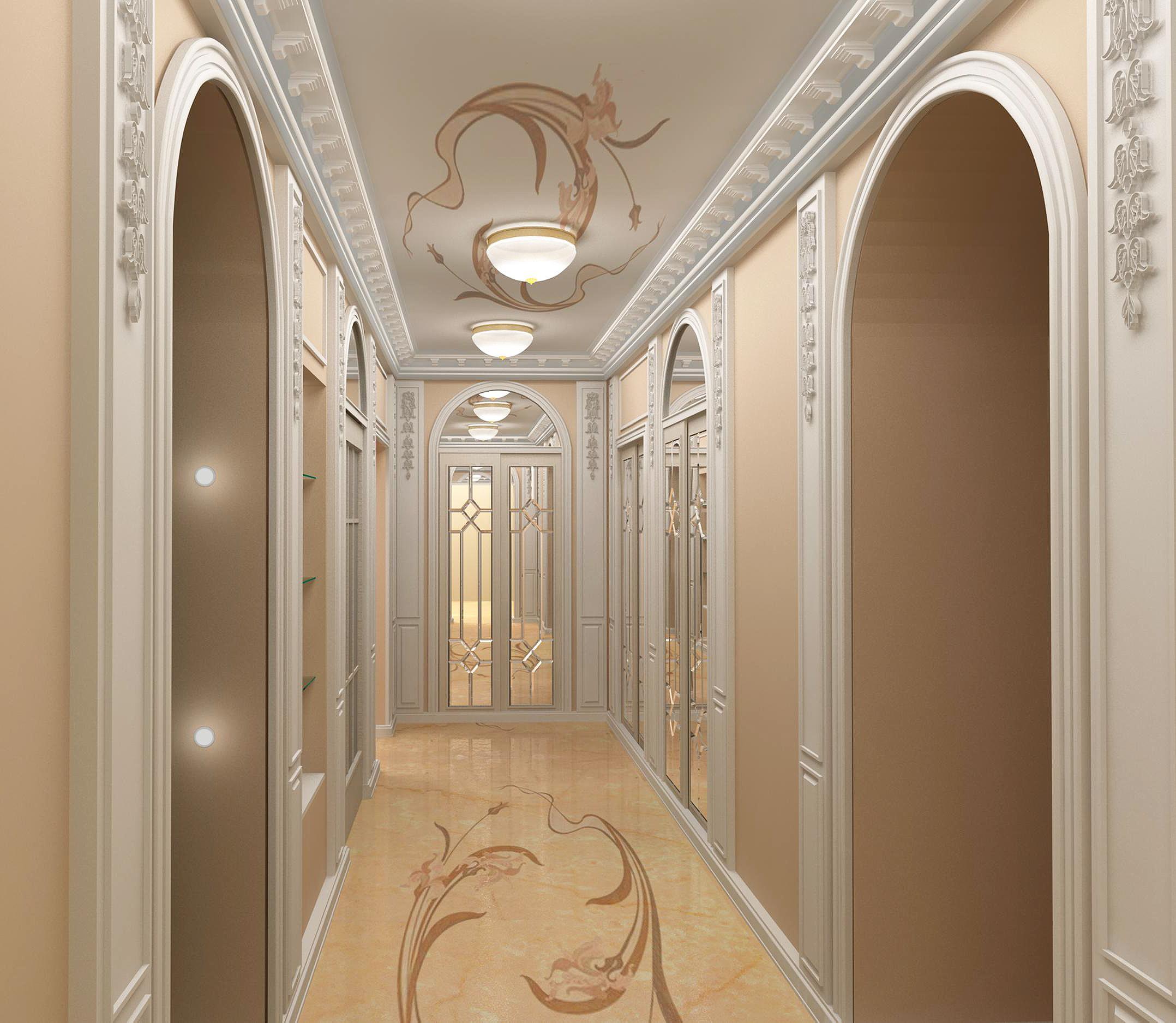 Декор потолка в коридоре