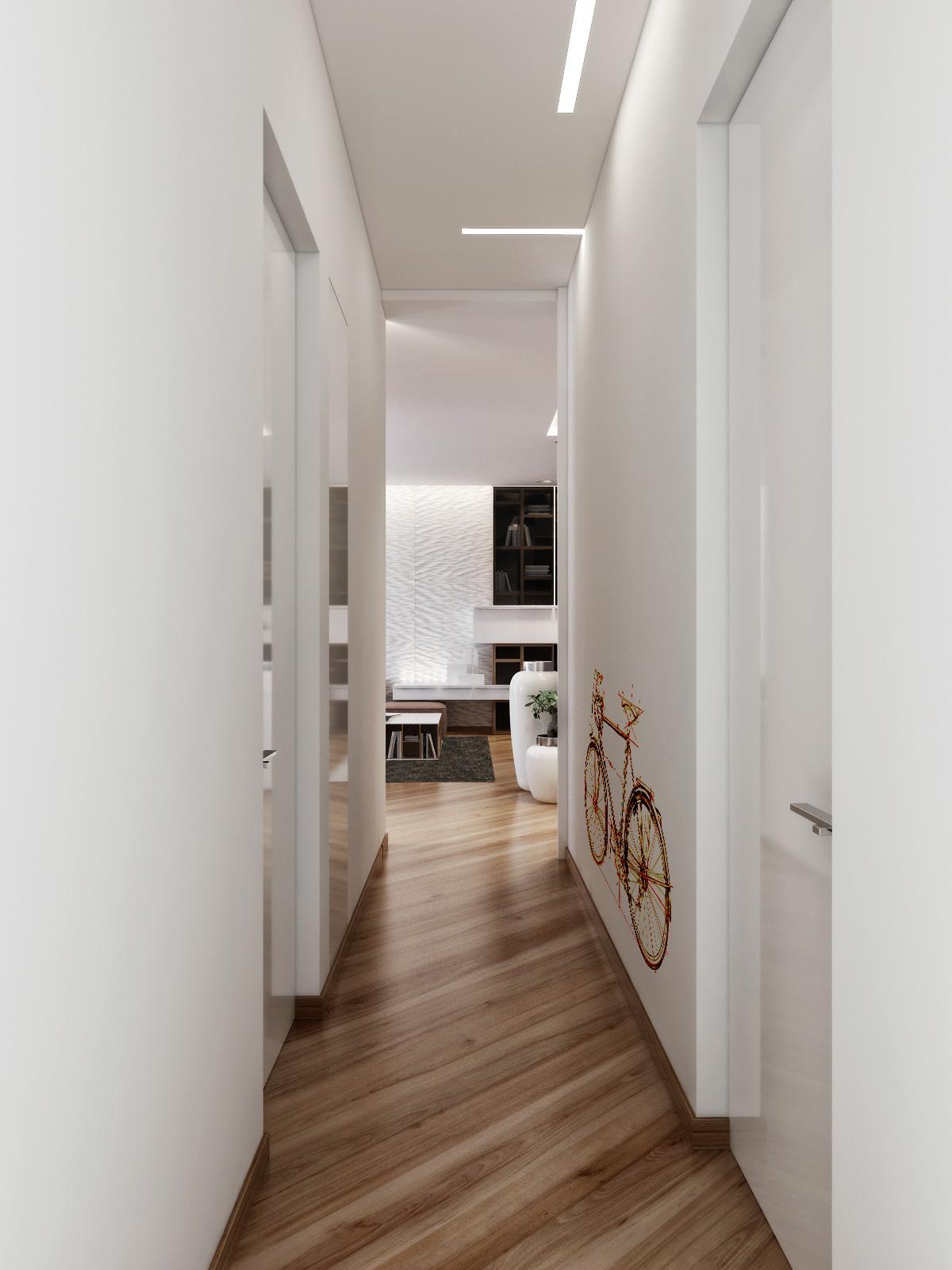 Диагональный ламинат в коридоре