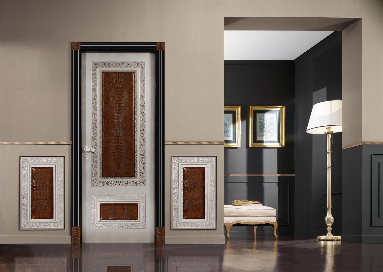 Декор двери кожей