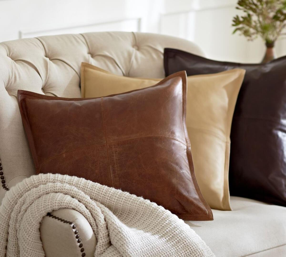 Кожаный чехол для подушки