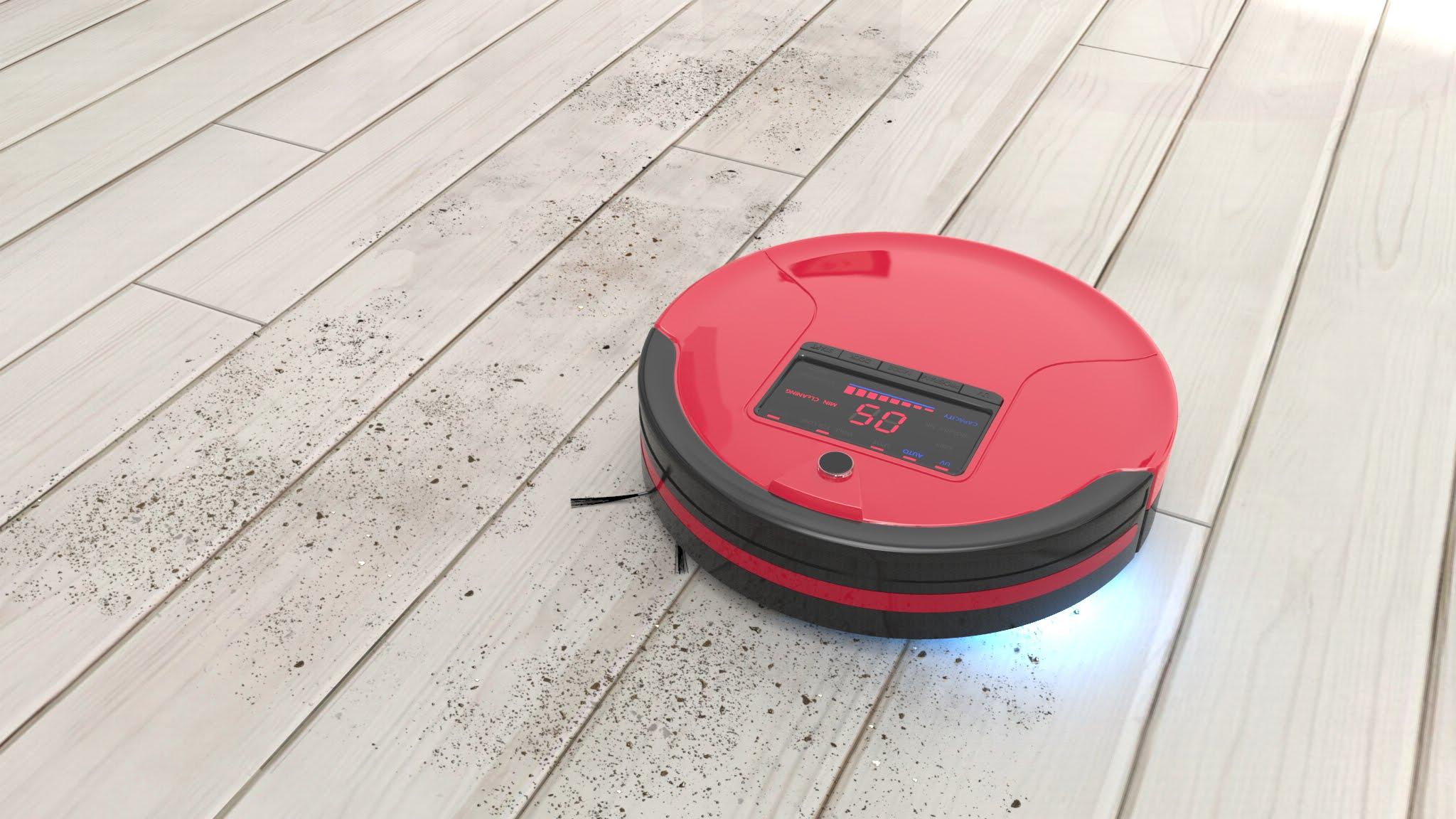 Робот-пылесос в красном дизайне
