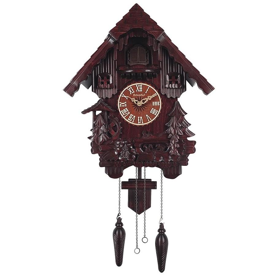 Часы с кукушкой из красного дерева