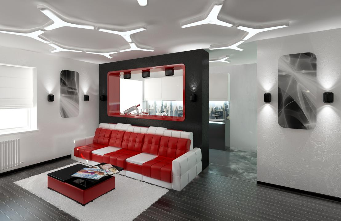 Красный диван в гостиной в стиле хай-тек