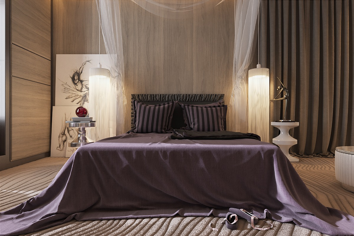Тюль над кроватью в спальне