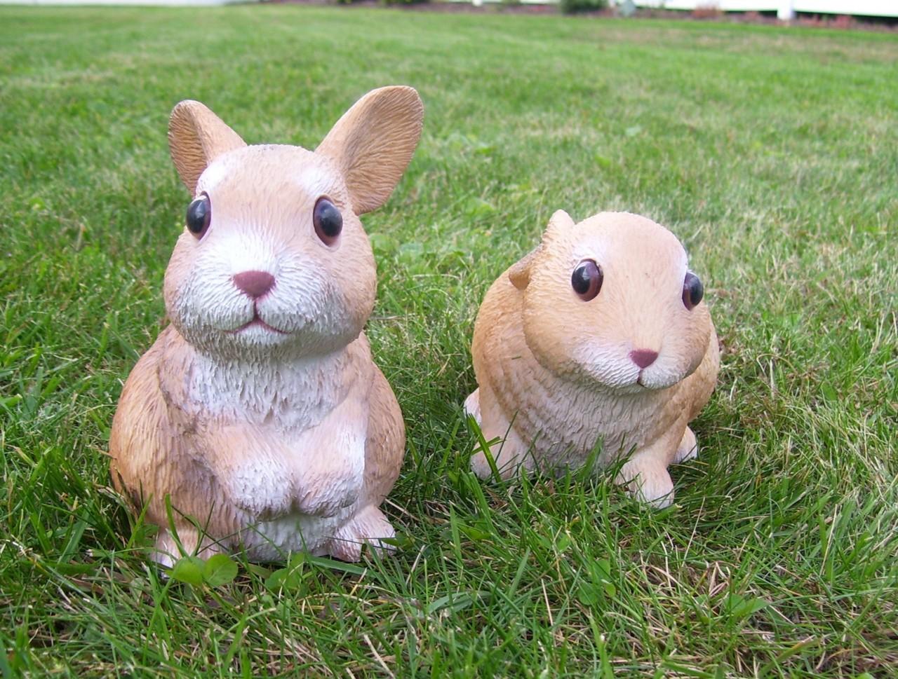 Кролики в декоре сада