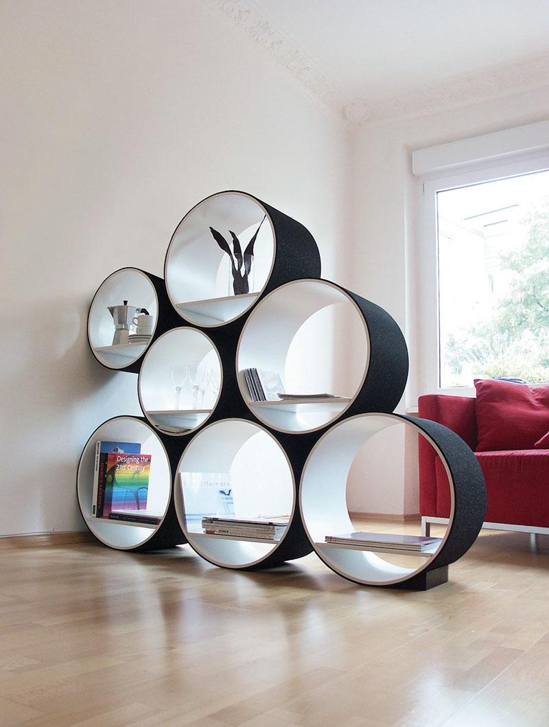 Круглый дизайн книжных полок