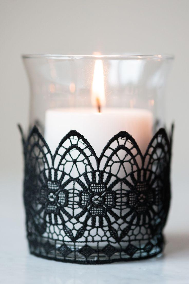 Кружевной декор свечи