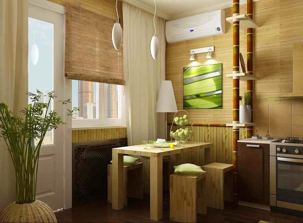 Бамбуковые обои на кухне
