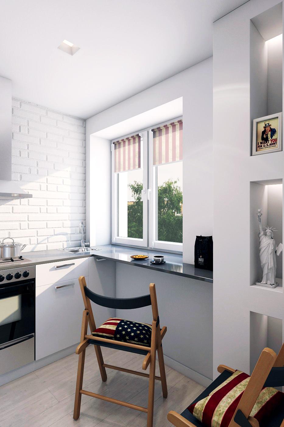 Кухня в дизайне двухкомнатной квартиры